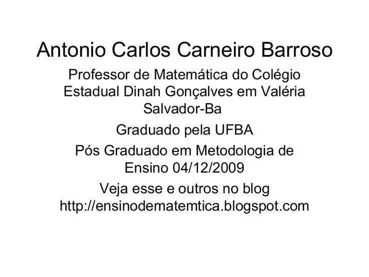 Sistema De EquaçõEs Do 1º Grau Autor Antonio Carlos Carneiro Barroso