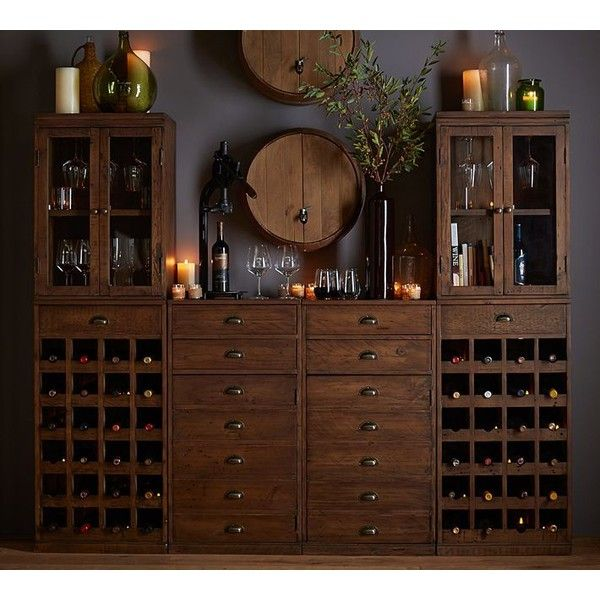 Pottery Barn Wallace Reclaimed Wood Wine Bar Suite With Towers (€3.135) ❤ liked on Polyvore featuring home, furniture, storage & shelves, bar cabinets, reclaimed wood furniture, pottery barn, liquor display cabinet, liquor storage cabinets and storage towers