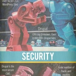 WordPress V.S. Drupal. WordPress Being the Red Robot, Drupal as the Blue.  The two robots fight it out in a epic battle from the paintings done by Eri