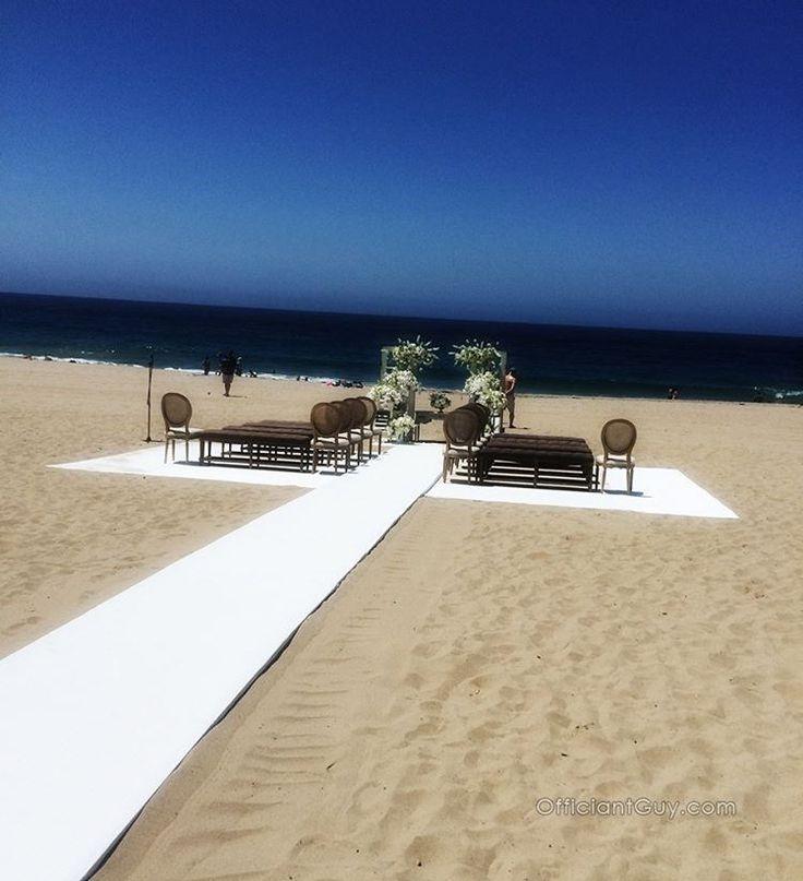 A well done beach wedding setup. #beachwedding #beachweddings #weddingideas #santamonicawedding #LosAngeles #LosAngelesweddings…