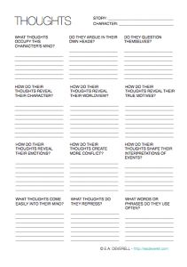 Character Thoughts (Writing Worksheet Wednesday)