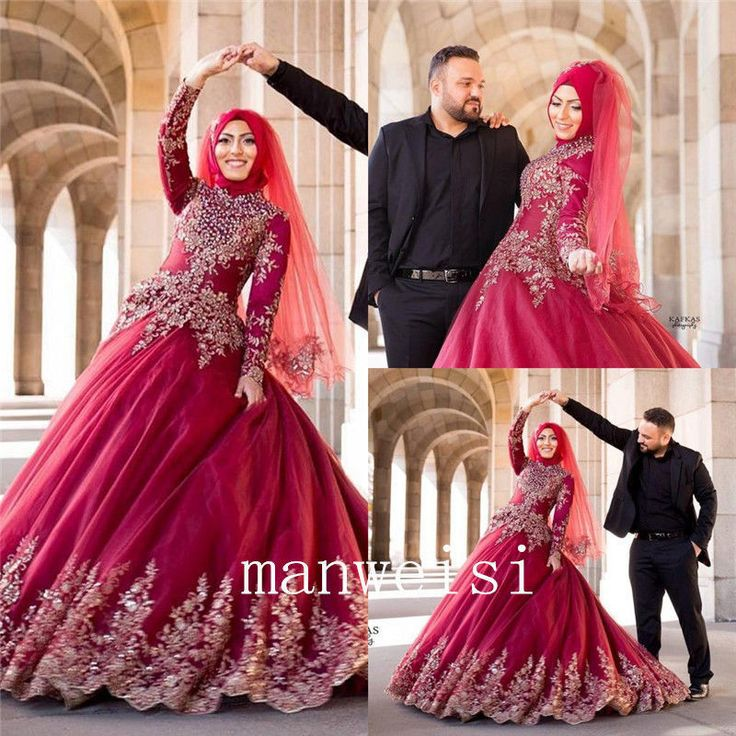Awesome Awesome Long-Sleeve Applique beads Ball Gown  Wedding Dresses Bead Muslim Bridal Dress  Cool