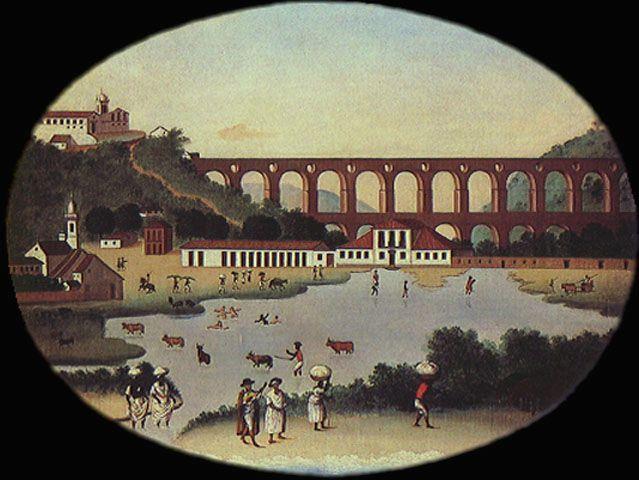 Vista da Lagoa do Boqueirão e do Aqueduto de Santa Teresa, Leandro Joaquim, 1790, Museu Histórico Nacional