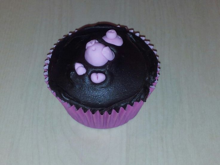 Pig in mud cupcake for SPCA cupcake day 2013. Chocolate cupcake, chocolate ganache, fondant pig.