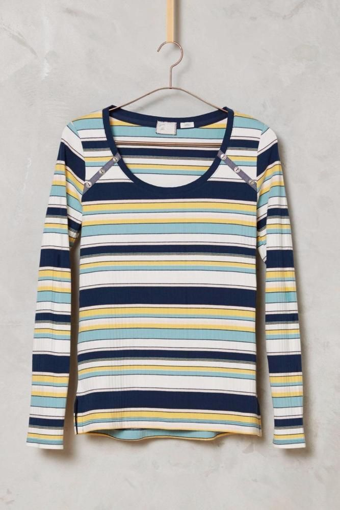 NEW ANTHROPOLOGIE Size LARGE L Joliette Tee Navy Womens Top Blouse Stretch NWT #Anthropologie #Tee #Casual