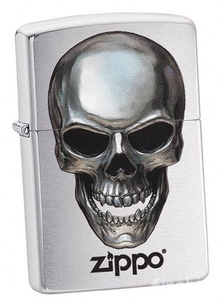 METAL SKULL Chrome Brushed ZIPPO neu+ovp COLLECTION 2018