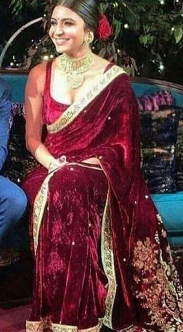 Anushka Sharma Inspired Velvet Sari Indian Sare Women Clothing Anushka Clothing Indian Saree Designs Party Wear Indian Bridal Fashion Indian Bridal Wear