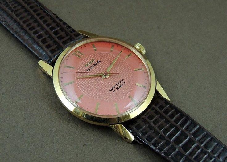 Vintage HMT Sona Hand Wind 17J India Mechanical Watch Orange Dial GoldPlate Case #HMT #Casual