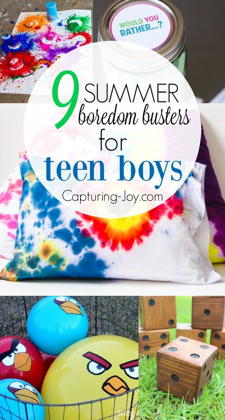 9 Summer boredom busters for teen boys. Keep kids active this summer with a few summer activities. http://Capturing-Joy.com