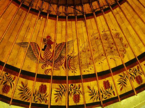[Explored] Songsong/Payung Kyai Bawat (bersap tiga), Keraton Kasunanan Surakarta (Sacred Umbrella from Surakarta Palace, Indonesia).An old umbrella of the Keraton of Surakarta. The picture depicts a peacock wearing a crown of the wayang character, Kresna. The crown of Kresna is the symbol of the Keraton of Surakarta
