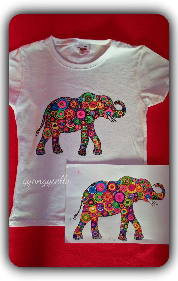 Rajz alapján készített, kézzel festett, elefántos gyerek póló