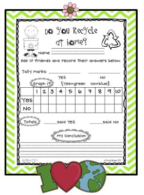First Grade Fever Earth Day Data Collection {FREEBIE}