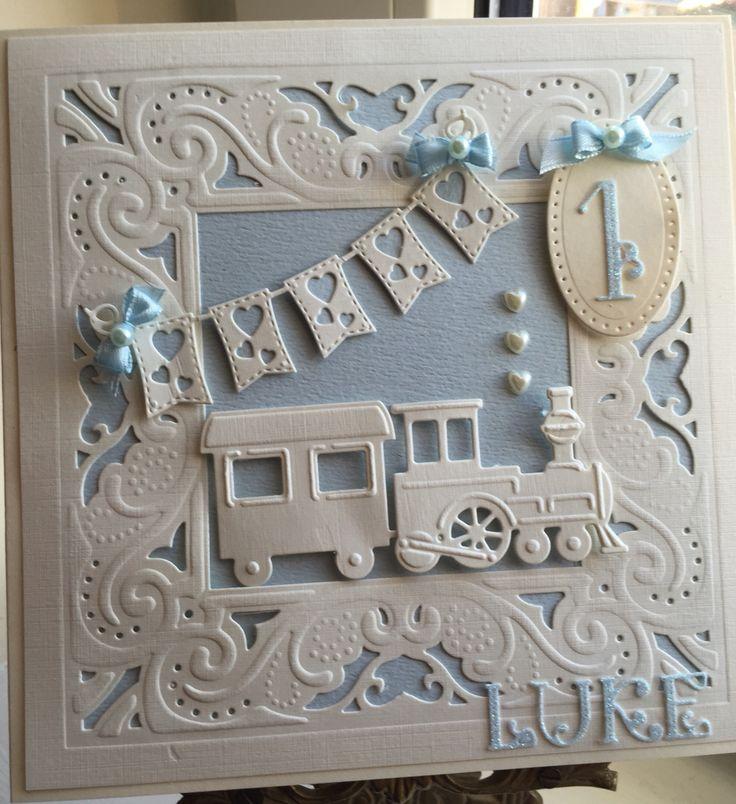 Card for my nephew made using diesire create a card die and Marianne train die