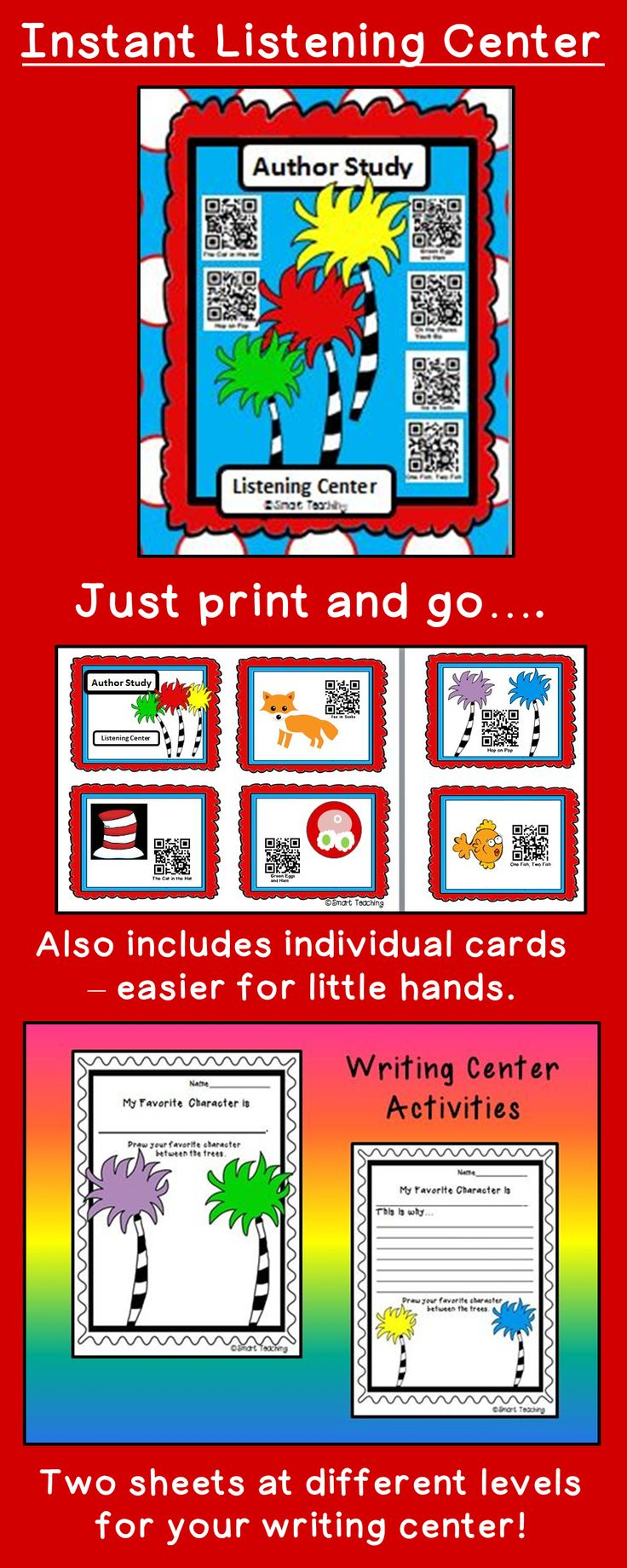 Make setting up your centers easy this week!  Children will love scanning the QR codes in the listening center, and writing about their favorite character in the writing center.  $