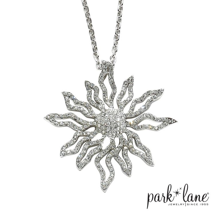 Solara by Park Lane Jewelry.  This sun pendant is suspended from a silver chain and is sparkling with Austrian crystals.  The perfect necklace for summertime.