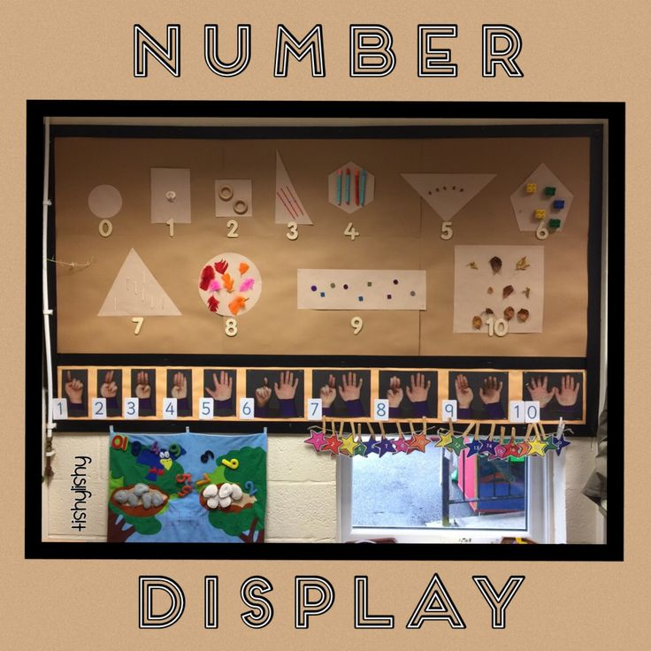 Our display in the maths area. The children helped to choose the items they wanted to display for each number.
