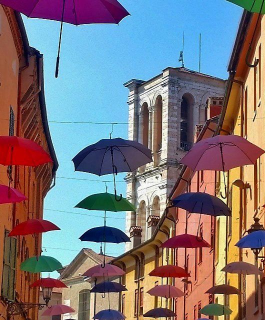 Umbrella street in Ferrara! Emilia-Romagna, Italy | by Turismo Emilia Romagna  ✈✈✈ Here is your chance to win a Free International Roundtrip Ticket to Bologna, Italy from anywhere in the world **GIVEAWAY** ✈✈✈ https://thedecisionmoment.com/free-roundtrip-tickets-to-europe-italy-bologna/