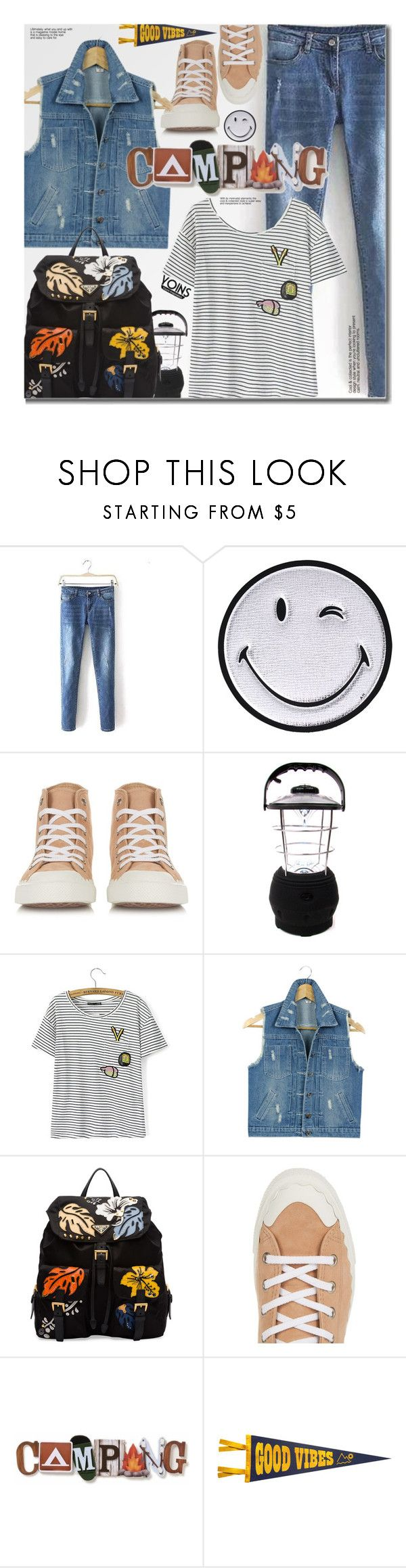 """Yoins Summer Camp (casual)"" by beebeely-look ❤ liked on Polyvore featuring Anya Hindmarch, Chloé, Prada, Dot & Bo, Denimondenim, summercamp, stripedshirt, yoins and yoinscollection"