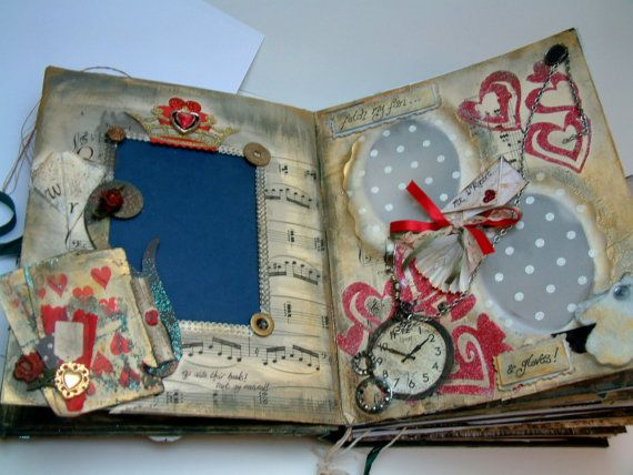 Alice in Wonderland handmade scrapbook. onahaynes on Etsy