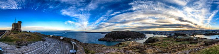 The view from Signal Hill overlooking the city of St John's Newfoundland and Labrador. You can see Cabot Tower, Fort Amherst, Cape Spear and enjoy the view over the North Atlantic Ocean.Photography by Brian Careyhttp://www.briancareyphotography.com/