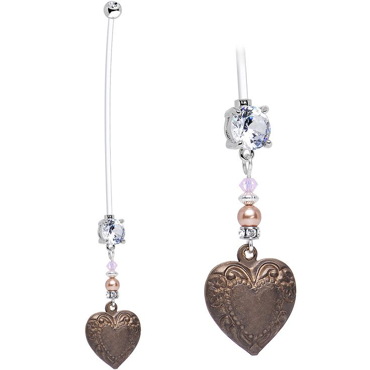 Handcrafted Clear CZ Forest Maiden Vintage Heart Pregnancy Belly Ring