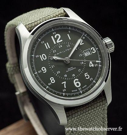 Montre sport typée montre militaire - Hamilton Khaki Field Auto sur bracelet tissu kaki