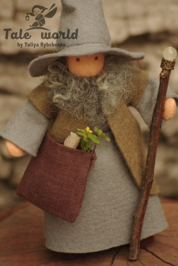Wizard is about 5.5 (15 cm) tall.  Materials: ** Figure wire. ** Sheep wool. ** Interlock tricot. ** 100% wool felt (clothes)  This doll is for children from 4 years.  You may choose a color of eyes.  Packing - small gift box (like in the last photo).  Shipping information: If you buy more than one item in my shop, shipping this item is $4.