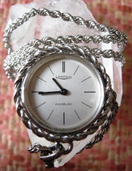 Online veilinghuis Catawiki: Lincoln -- Zilveren horloge-hanger aan zilveren koord collier