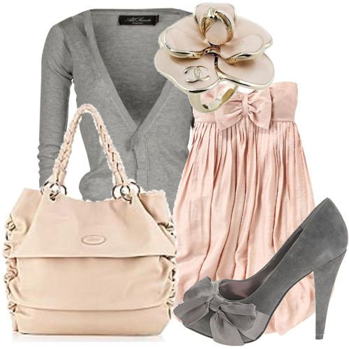 So Feminine.: Colors Combos, Soft Pink, Fashion Outfits, Date Outfits, Pale Pink, Colors Combinations, Pink Grey, Classy Outfits, Romantic Date