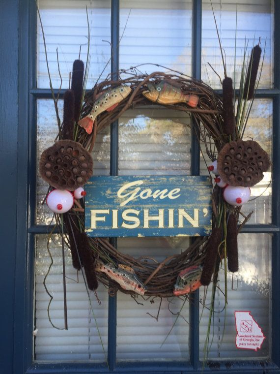 Gone Fishin Wreath Lake wreath Fishing wreath by shirleylee1