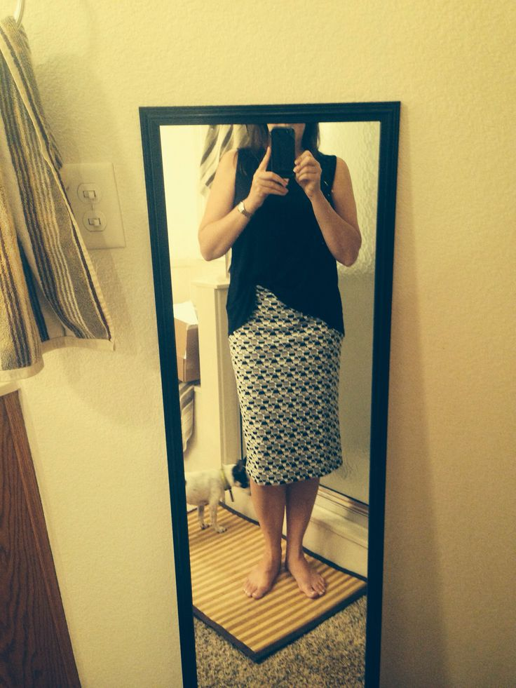 Aug '15 fix: love love love this skirt!!!  Stretch fabric is perfect for me plus pattern hides that it is tight. Perfect for work!!
