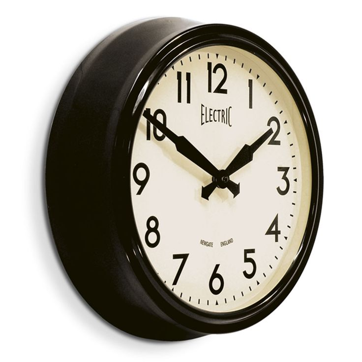 Newgate Clocks - 50's Electric Clock - Black - 37cm dia