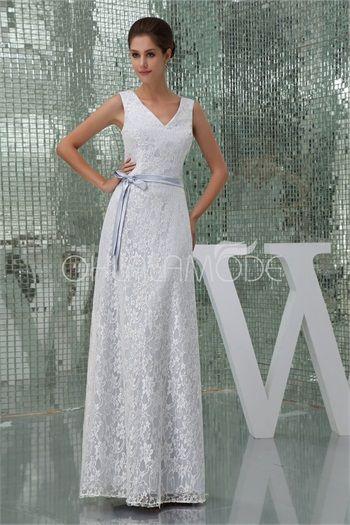 Robe de mariée blanche simple A-ligne en dentelle 2015