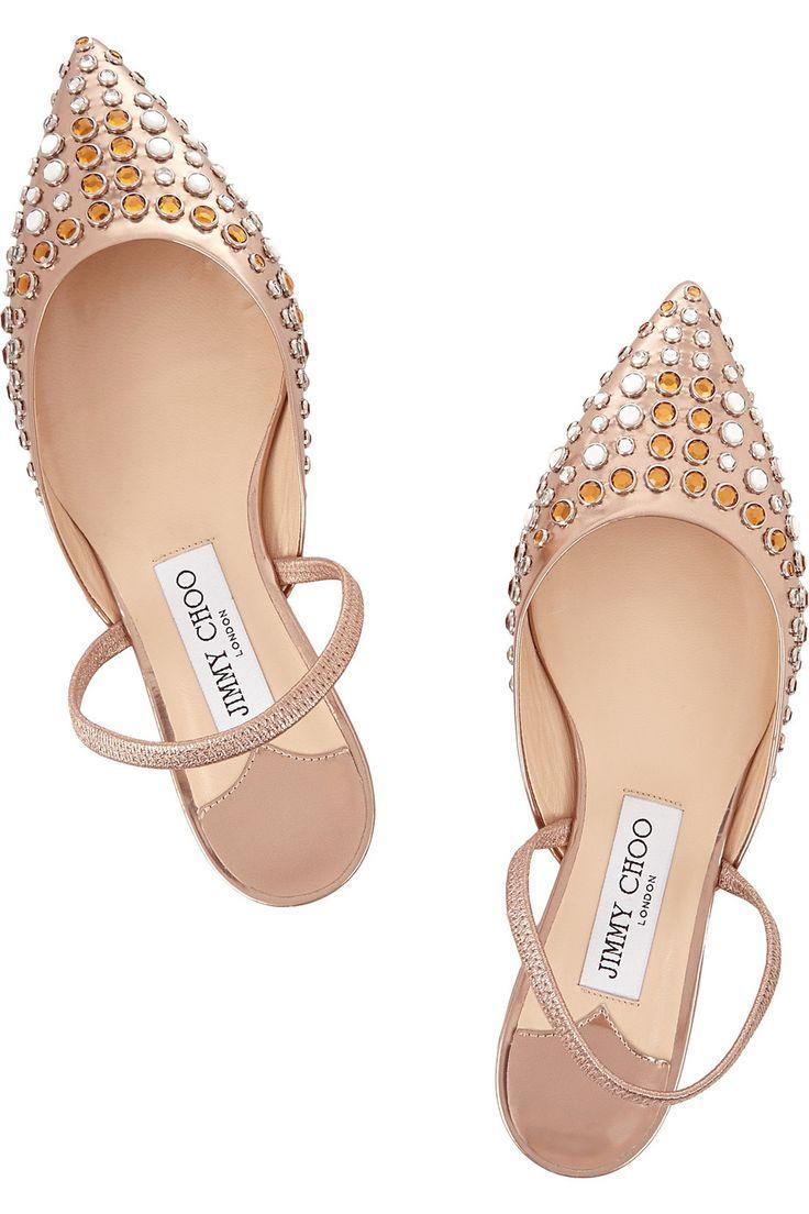 Jimmy Choo|Genoa embellished metallic leather point-toe flats|NET-A-PORTER.COM:
