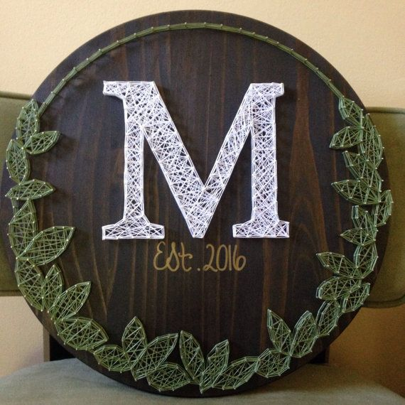 "String Art Mongram sign with leaf wreath made to order with date. Nail and String Art, Gallery Wall Decor 18"" Diameter!"