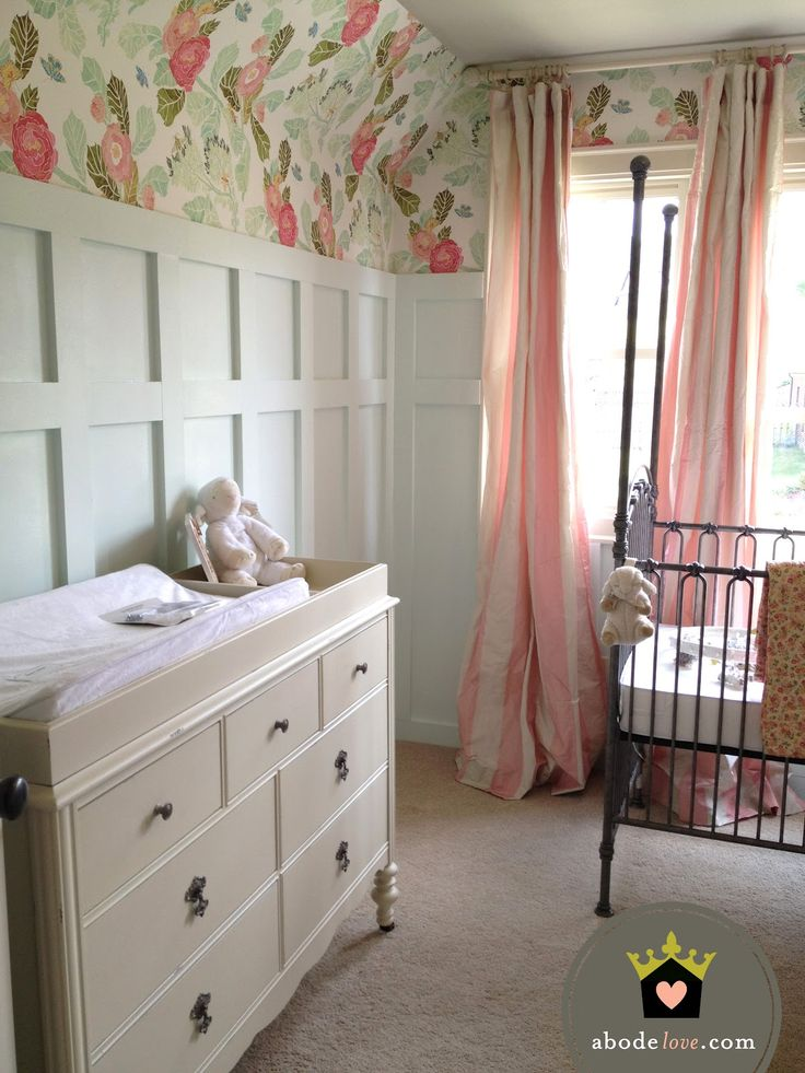 """Love the wallpaper. On one wall?   Romo?  Too grily for a boy though? Could I find a """"boyish"""" alternative though? (green/turq theme)  abode love: nursery progress #nursery #baby #girl"""