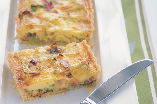 Leek, Bacon, Brie and wholegrain mustard quiche recipe
