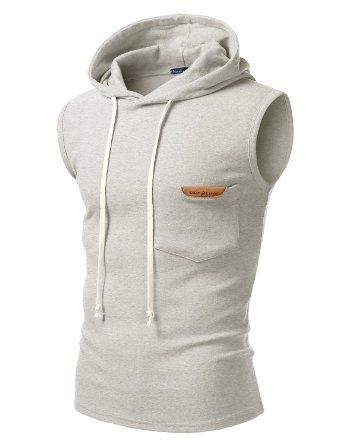 9XIS Mens Basic Drawstring Eyelet Accent Zip-Up Hoodie Vest With Pockets