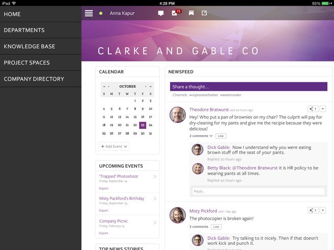 Mobile screen for Igloo Intranet