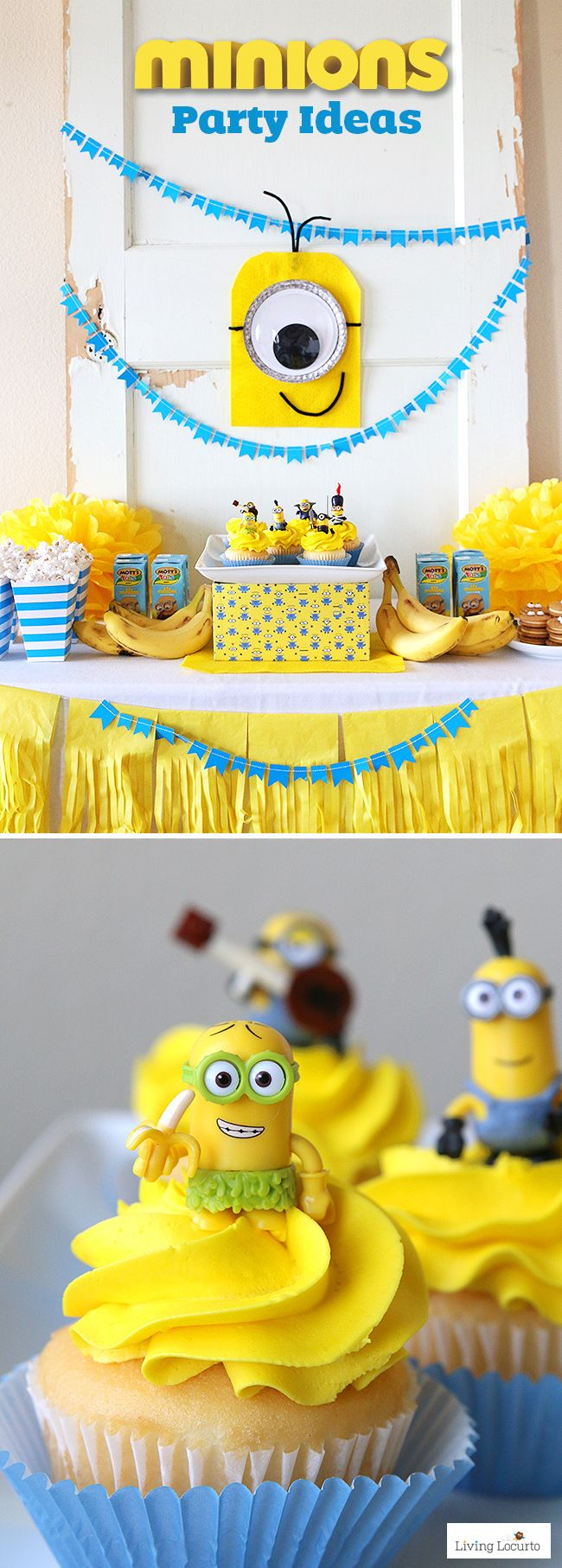 Cute Minions Party Ideas! Fun DIY ideas for a Minions Party or Despicable Me Minion Themed Birthday Party. The felt Minion is an easy craft project for kids. So adorable! by @livinglocurto