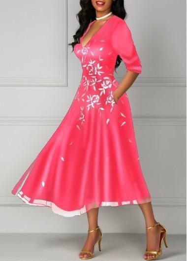a69a5c68b2e  AdoreWe  Rotita -  unsigned Deep V Neck Flower Print Pocket Dress -  AdoreWe.com
