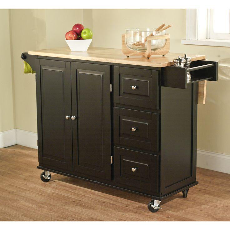 Black Natural Aspen 3 Drawer Kitchen Cart Ping The