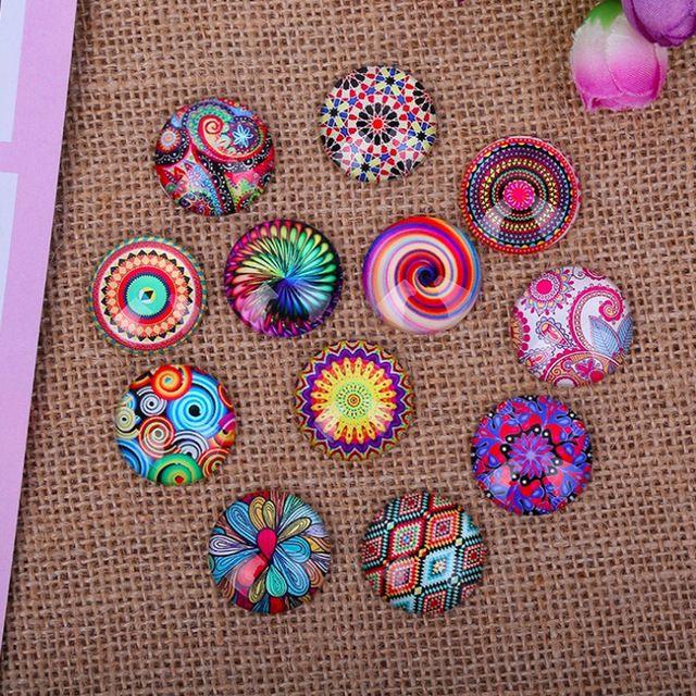 100 unids/lote Mix Cúpulas Ronda Hermosa Flor Photo Vidrio Cabochon 10mm 12mm DIY Hecho A Mano de la Joyería Del Pendiente Del Collar Accesorios