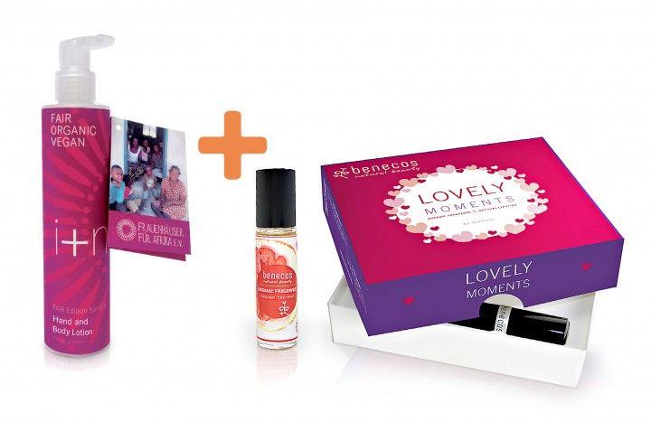 i+m Hand- & Bodylotion 200ml + benecos Bio-Parfüm 10ml & Lippenstift 4,5g als Set