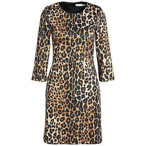 Buy Oui Leopard Print Dress, Black/Camel Online at johnlewis.com