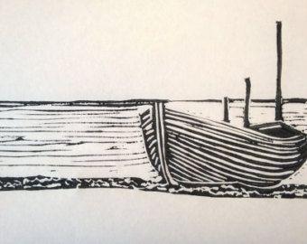 Lino Print Hastings Boat