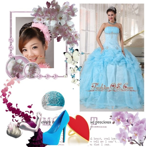"""""""Wonderful Baby Blue Quinceanera Dress Strapless Organza Beading Ball Gown"""" by fancydressesforyou ❤ liked on Polyvore"""