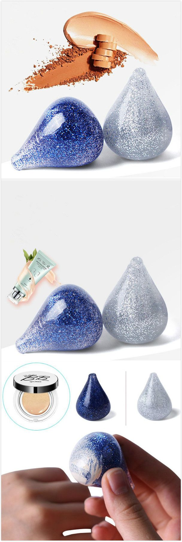 【 Special 2 / US$10.00】Silicone Makeup Puff Water Drop Washable BB Cream Foundation Silver Dark Blue Flashing Puffs