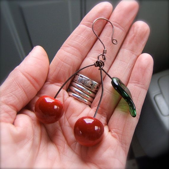 Items similar to Cherry Tree Ornament with Leaf - Glass - Door County - by Bullseyebeads on Etsy & 8 best Cherry Christmas!!!! images on Pinterest | Maraschino ...