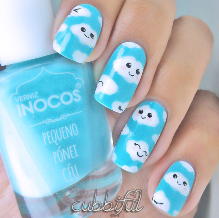 Kawaii Fluffy Clouds nail art by Cubbiful - Nailpolis: Museum of Nail Art